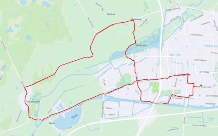 Route Hoogeveen – Echten – Fluitenberg – Hoogeveen