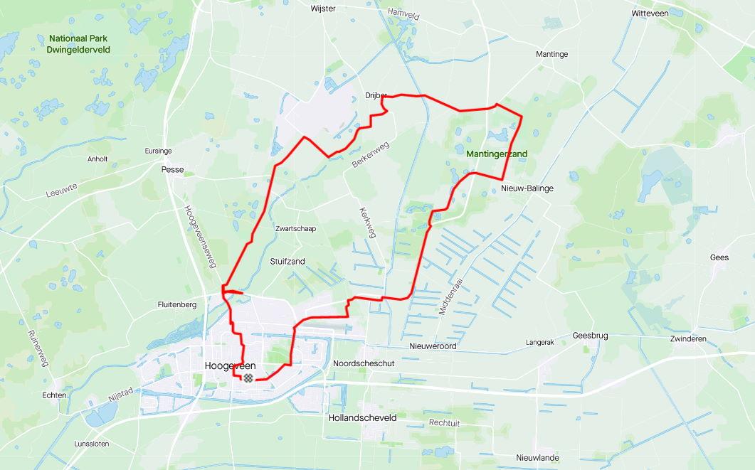fietsen ten Noordoosten van Hoogeveen